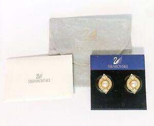 NEW - SWAROVSKI Authentic Black Gold Pearl Crystal Large Stud Beautiful Earrings