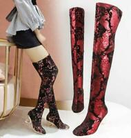 Womens Floral Printed Over Knee Thigh High Heels Stretch Riding Boots Shoes A649