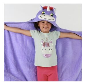 Comfy Critters Hooded Blanket Unicorn Purple