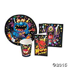 MONSTER BASH Birthday Party Supply Set Kit w/ Plates,Napkins, Cups & Invites