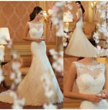 2018 New Arrival White/Ivory Lace mermaid wedding dress Bridal Gown Size 6-18+