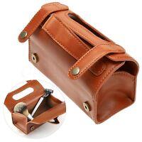 New Men's Brown Leather Travel Sport Pouch Case Shaving Brush Razor Toiletry Bag