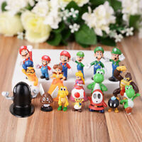18pcs Super Mario Bros Figures Cake Topper Cute Toy Gift Yoshi Luigi Goomba