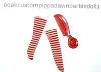 HTF Barbie Doll Red White Striped Pajama Socks? Strawberry Shortcake Comb Lot 50