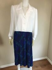 Vintage 1980's Darian Collared Two-Tone Paisley Printed Career Day Dress, Size L