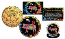 Chinese Zodiac PolyChrome Genuine JFK Half Dollar 24K Gold Gilded Coin - PIG