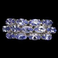 Unheated Marquise Tanzanite 6x3mm 14K White Gold Plate 925 Sterling Silver Ring