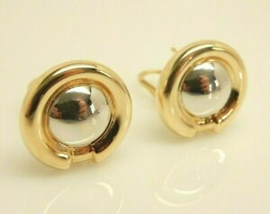 CHIAMPESAN ITALY 18K Yellow/White Gold Post w/Omega Clip Button Earrings 12.3 Gr