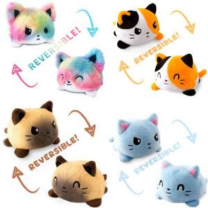 Double-Sided Flip Reversible Cat Plush Toy Stuffed Doll Mood Meme Kid Gift
