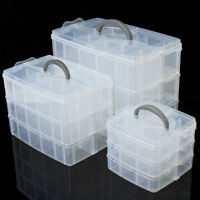 M L XL Jewellery Compartment Box Tool Case Clear Storage Organiser Craft Beads