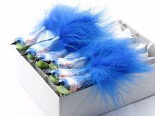 6 Czech glass clip bird Christmas tree ornament decor blue green bauble