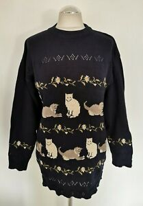 LADIES ACORN NAVY PURE COTTON KNITTED CAT JUMPER. UK 10/12 (M)