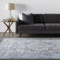 Grey Rug Soft Distressed Silver Traditional Lounges Carpet Mat 160x230cm
