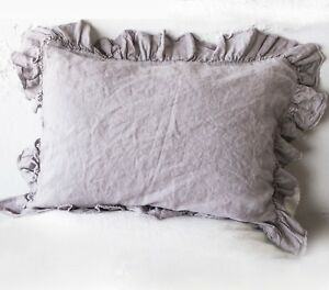 Linen pillow case flax 4-SIDES RUFFLE pillow sham 100% linen RAW edges flax