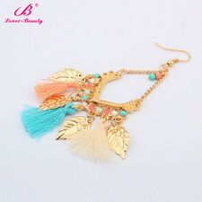 Gold Plated Charm Bead Tassel Pendant Drop Statement Dangle Women Earrings Gift