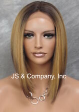 Lace Front Wig Straight Fashion Brown Roots golden blond mix Hair Piece LBY