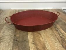 Large Metal Serving Tray Decor Rustic Red Tin Oval 12x17x3
