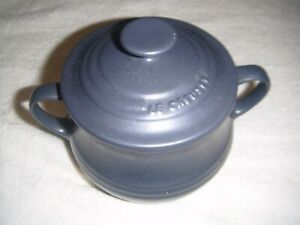 Le Creuset Stoneware Poterie Soup Bowl with Lid. Dark Blue/Grey 0.5l/16oz