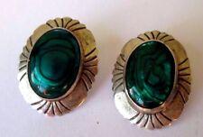 boucles d'oreilles percées bijou argent massif sterling cabochon vert  NANA 3479