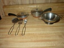 Lot of Play Fun food items METAL pans, colandar, utensils, miniature cookware