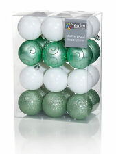 24 x Pale Green Peppermint White Mix Baubles 6cm Christmas Tree Decorations