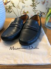 Massimo Dutti Blue Leather Slip On Shoes Loafers Size 9 / 43 Excellent Cond