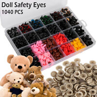 1040PCS Safety Eyes Noses Washers Black 6-14mm For Teddy Bear Doll Toys Making