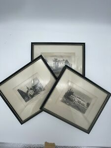 SET OF THREE HISTORICAL PRINTS FRAMED - VINTAGE - HAMPSTEAD - CHALK FARM