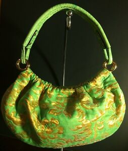 Kate Spade NY Bag Jacquard Floral Green&Gold Tapestry Chic Small Purse $195 New