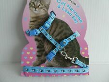 (CH003) Cat Kitten Adjustable Harness & Lead Set Light Blue Cartoon Cows & Stars