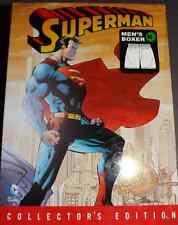 NWT- MEN'S SUPERMAN LOGO COLLECTORS EDITION BOXERS & TIN (M 32-34)