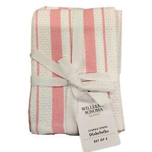 Williams-Sonoma Classic Cotton Kitchen Dish Cloths Lot of 4 Geranium Pink
