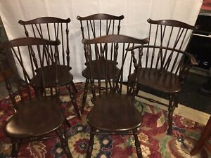 5 Vintage Conant Ball Brace Back Windsor Accent Chairs Armchair Beautiful!