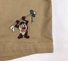Rare Warner Bros Tasmanian Devil Taz Golf Hole 9 Tan Shorts Size 30