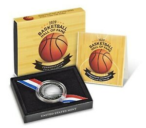 2020 S Basketball Hall of Fame Proof Half Dollar Curved 50c Coin Box and COA