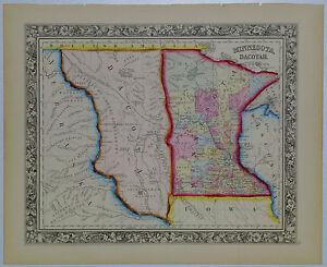 1860 Genuine Antique Map of Minnesota & Dacotah region (Dakota). A Mitchell