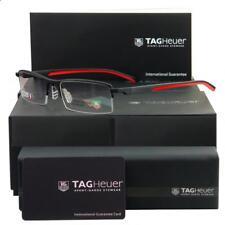 TAG Heuer TH 0821 012 automatica Matt Black & Red Half Rim Occhiali da vista Frames S 56