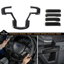 For Ford F150 15-17 Carbon Fiber Interior Door Handle&Steering Wheel Cover decor