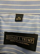 Donald J Trump Signature Collection 16 32/33 Blue Stripe Dress Shirt French cuff