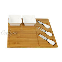 Bamboo Cheese Board Server with Ceramic Dish and Stainless Forks & Knives
