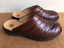 Clarks Women's Shoes Mules Slip Ons Unstructured Sz 6 M Brown Leather