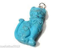 Bijou alliage argenté pendentif chat howlite teintée bleue pendant