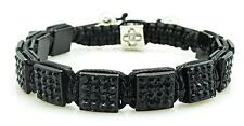 Mens Womens Black Crystal Square Shamballa Bracelet One Size NEW #4