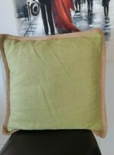 POTTERY BARN 100% LINEN cushion cover Jute trim 20x20 cushion included green EUC