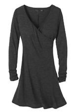 NEW prAna Long-Sleeved V-Neck Wrap Style Dress Coal Size XL $89 Retail