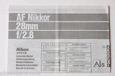 Nikon Nikkor AF 28mm 2.8Ais Lens Instruction Manual Book Owners Guide - USED B50