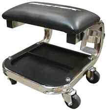 BIKETEK JUMBO WORKSHOP GARAGE CREEPER SEAT CHROME/BLACK WITH TOOL TRAY