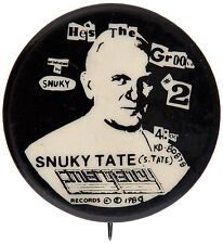SNUKY TATE HE'S IN THE GROOVE 1980 COPYRIGHTED SONG MUSIC  PINBACK BUTTON.