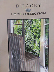 New D'Lacey Home Collection Troon Slipcover Chair Cover ~ Tan Taupe Black Stripe