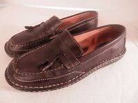 Born Men's Moc Toe Brown Leather Loafers-Size 7.5-Tassels-Excellent Condition